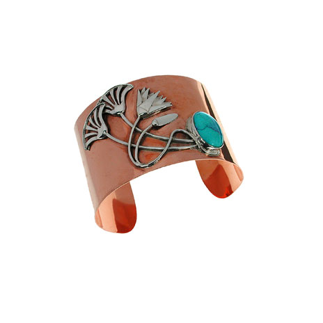 Copper and turquoise lotus bangle (...