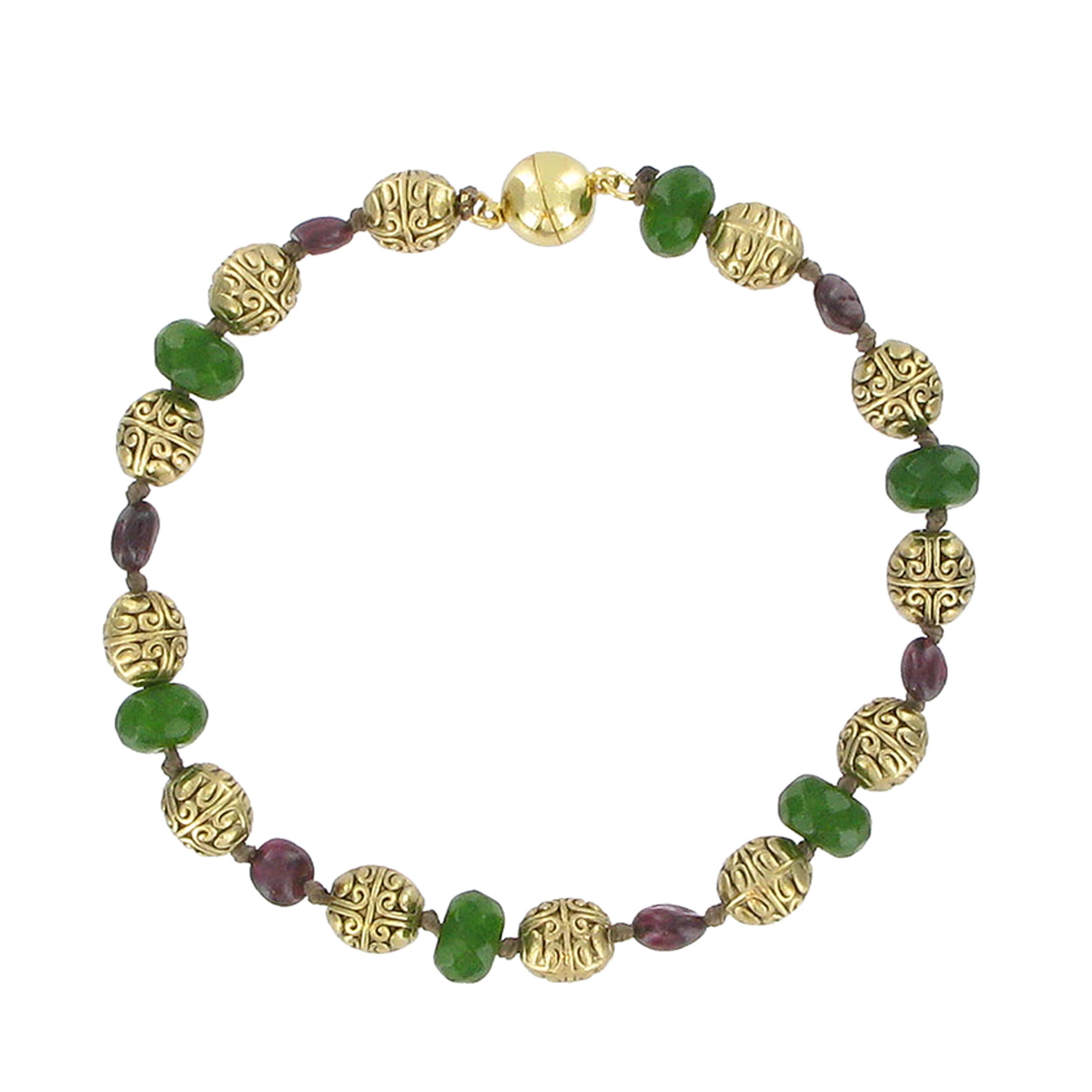 Jade and garnet bead bracelet