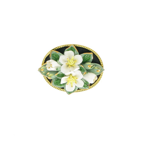 Porcelain orange blossom brooch