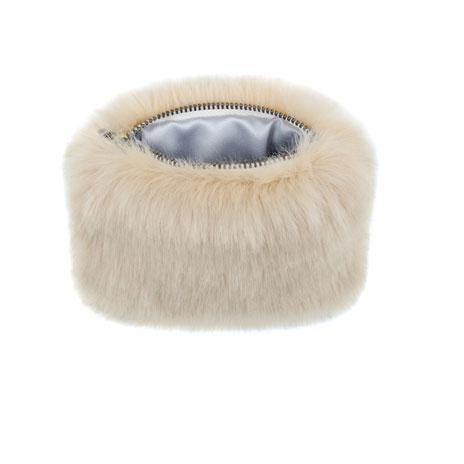 Sand faux fur coin purse