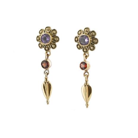 Flower garnet amethyst & garnet earrings