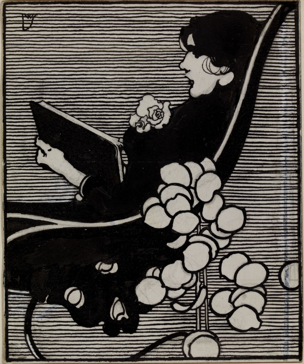 Woman reading a book, design for a bookplate