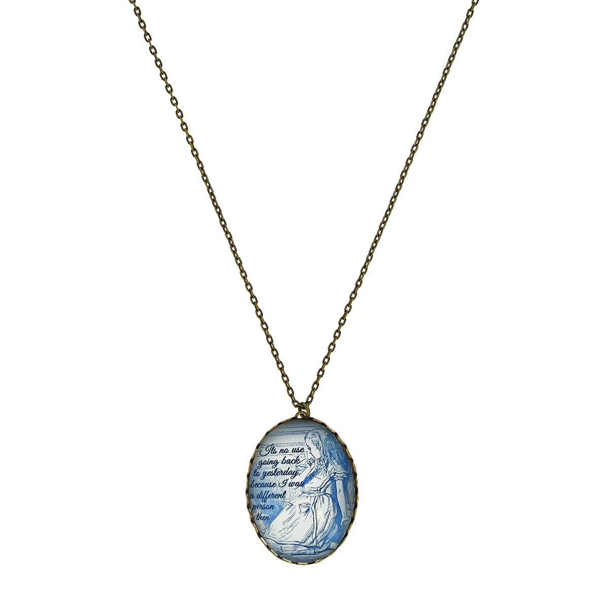 Alice in Wonderland oval necklace