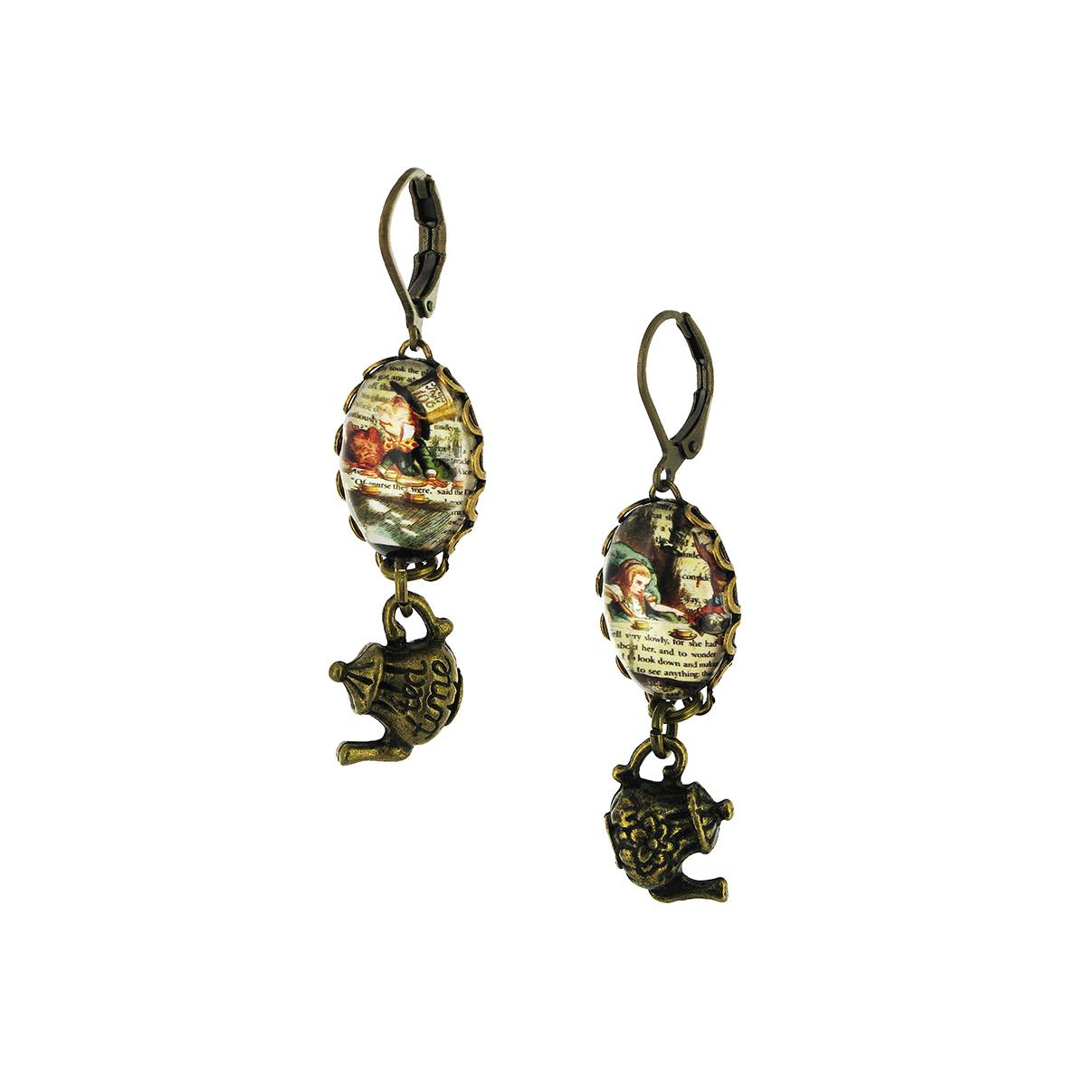 Alice's teapot drop earrings