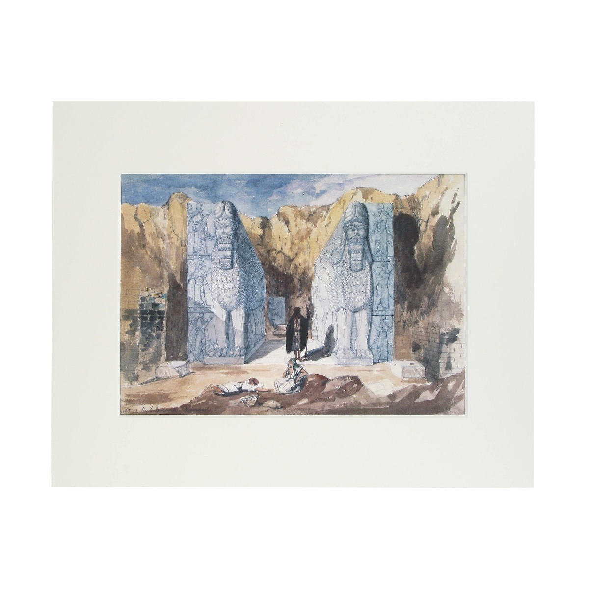 Assyria excavations mounted print