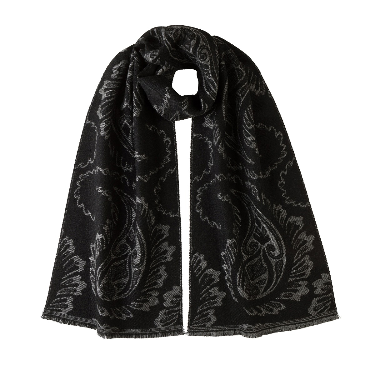 Black and grey paisley cashmere scarf