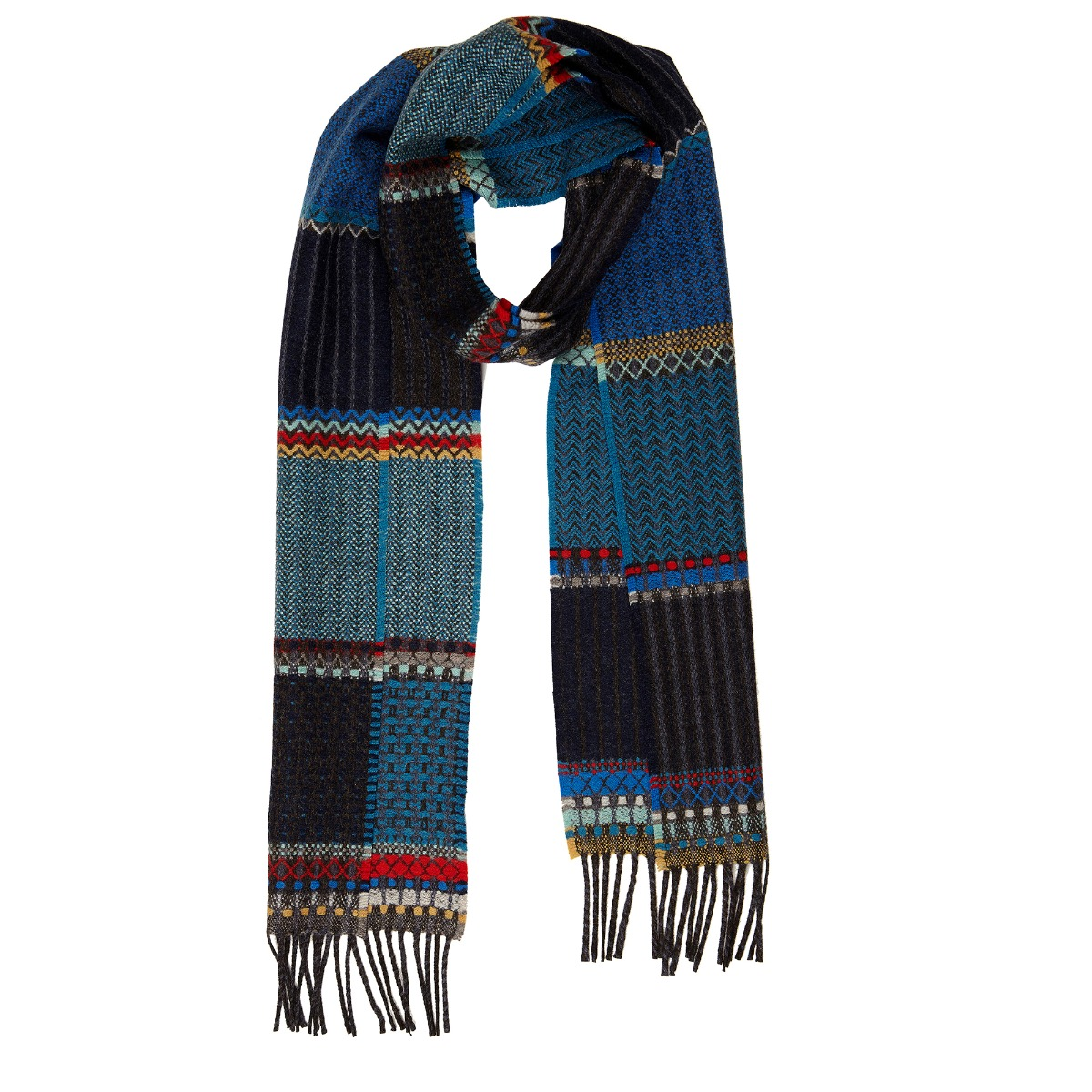 Blue duo lambswool scarf