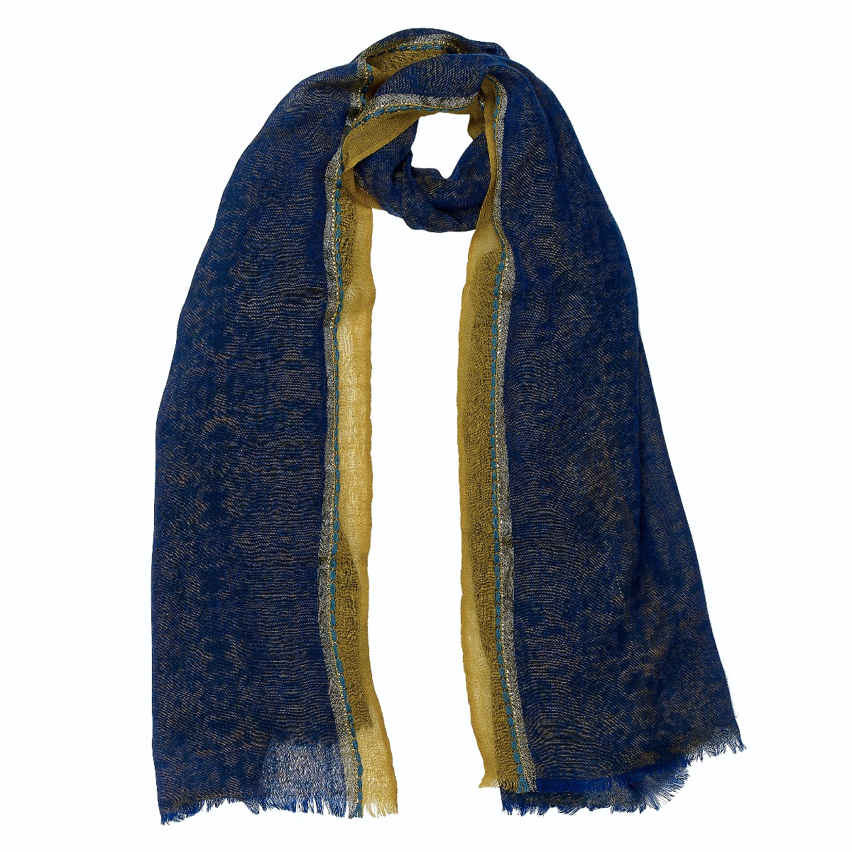 Blue and gold wool scarf