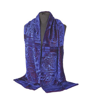 Celtic velvet blue scarf