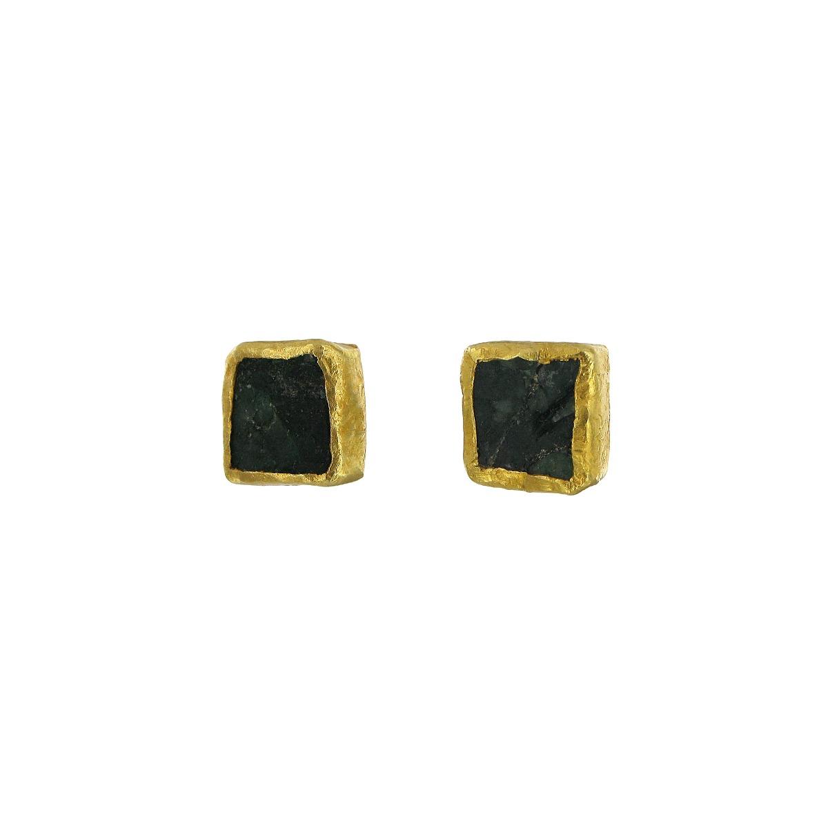 Brazilian emerald square stud earrings