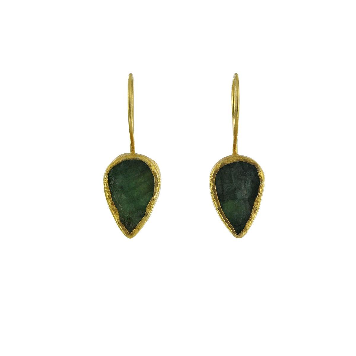 Brazilian emerald tear drop earrings