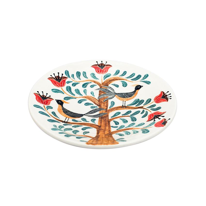Ceramic bird's tale plate (pastels)