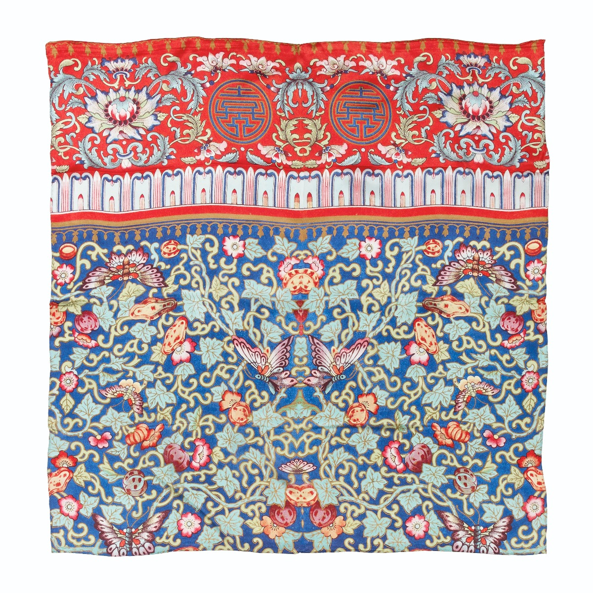 Chinoiserie silk scarf (red)