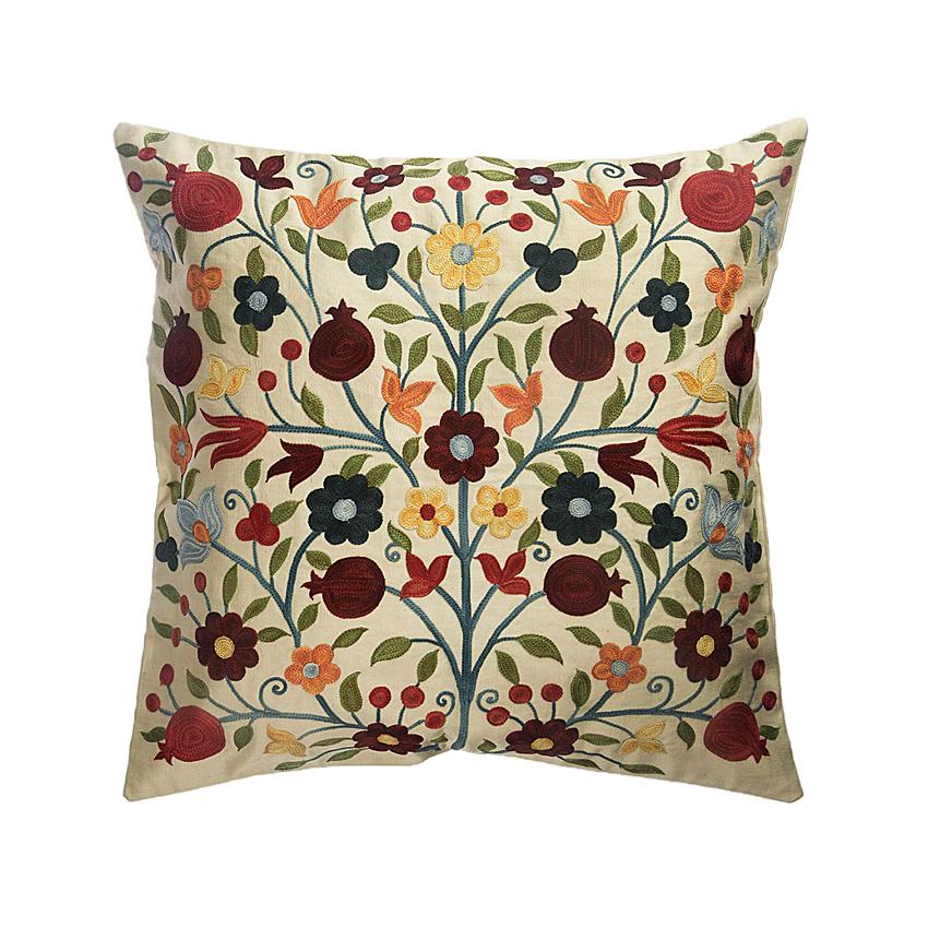 Cream flowers cushion