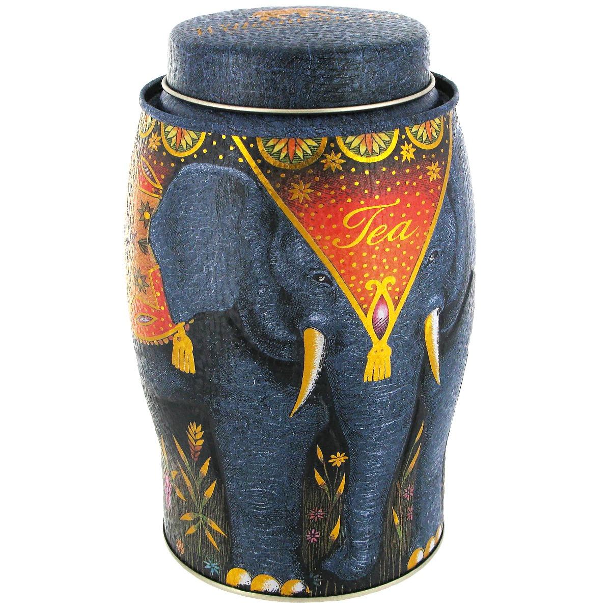 Elephant tea caddy with English Breakfast tea (dark grey)