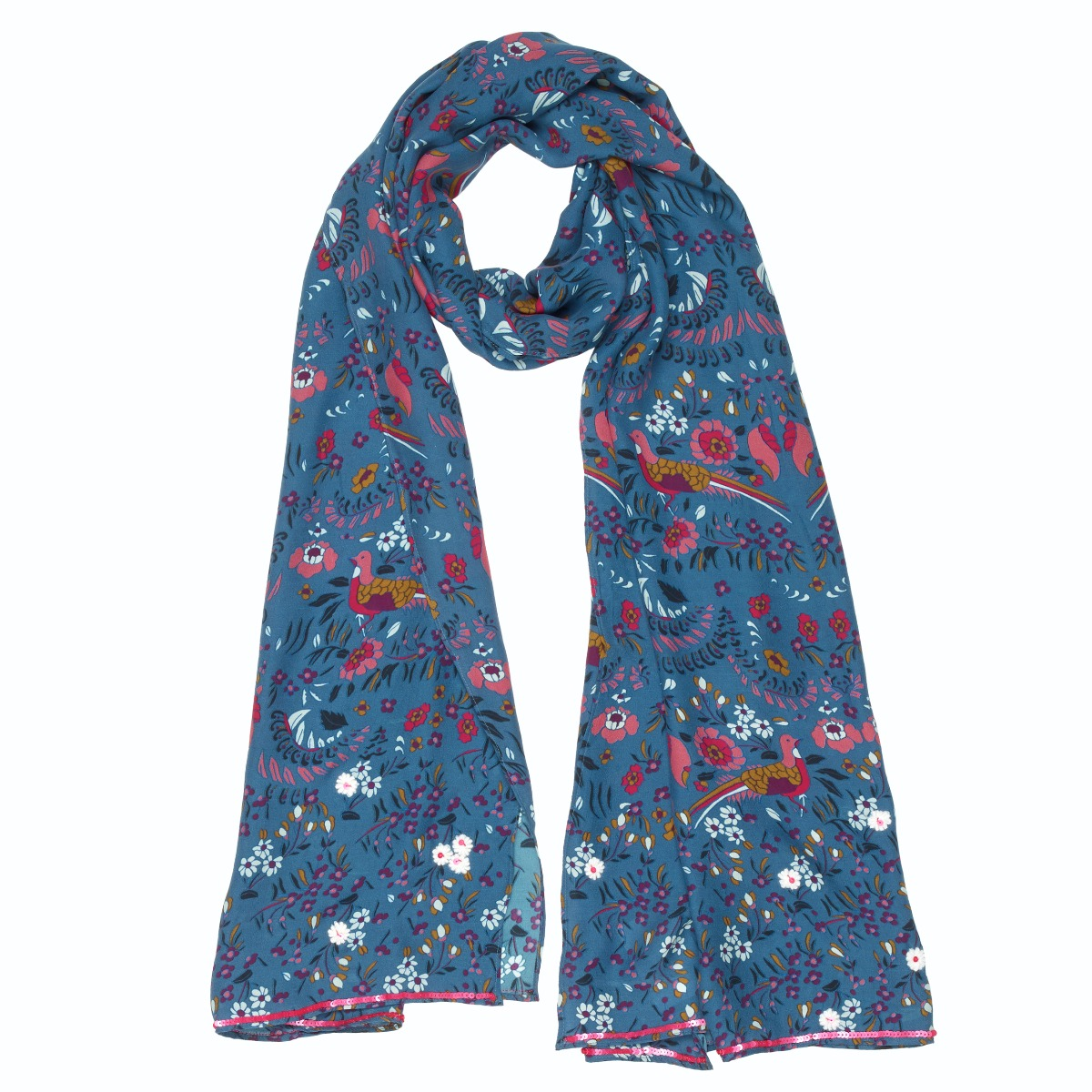Floral bird silk scarf