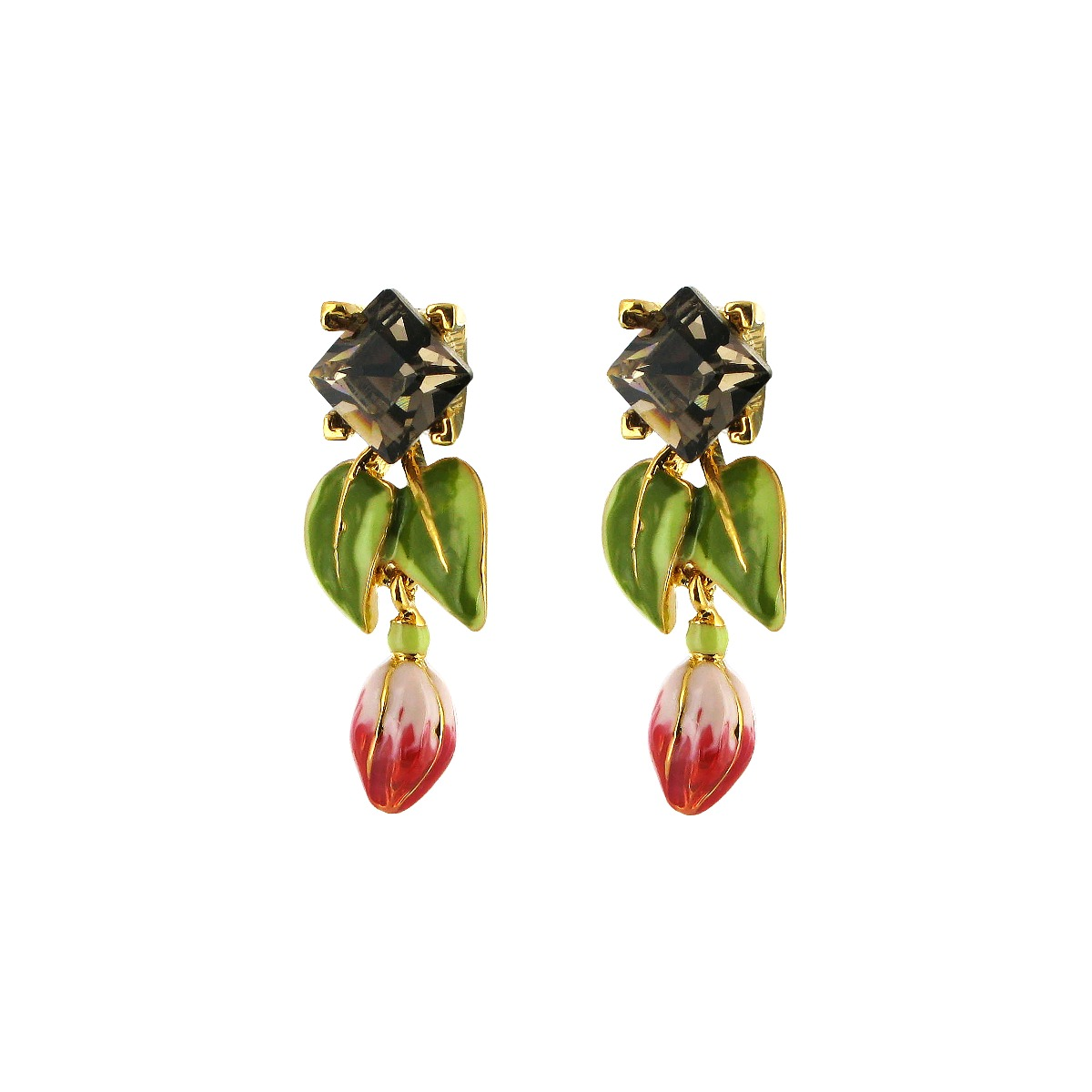 Floral swarovski drop earrings