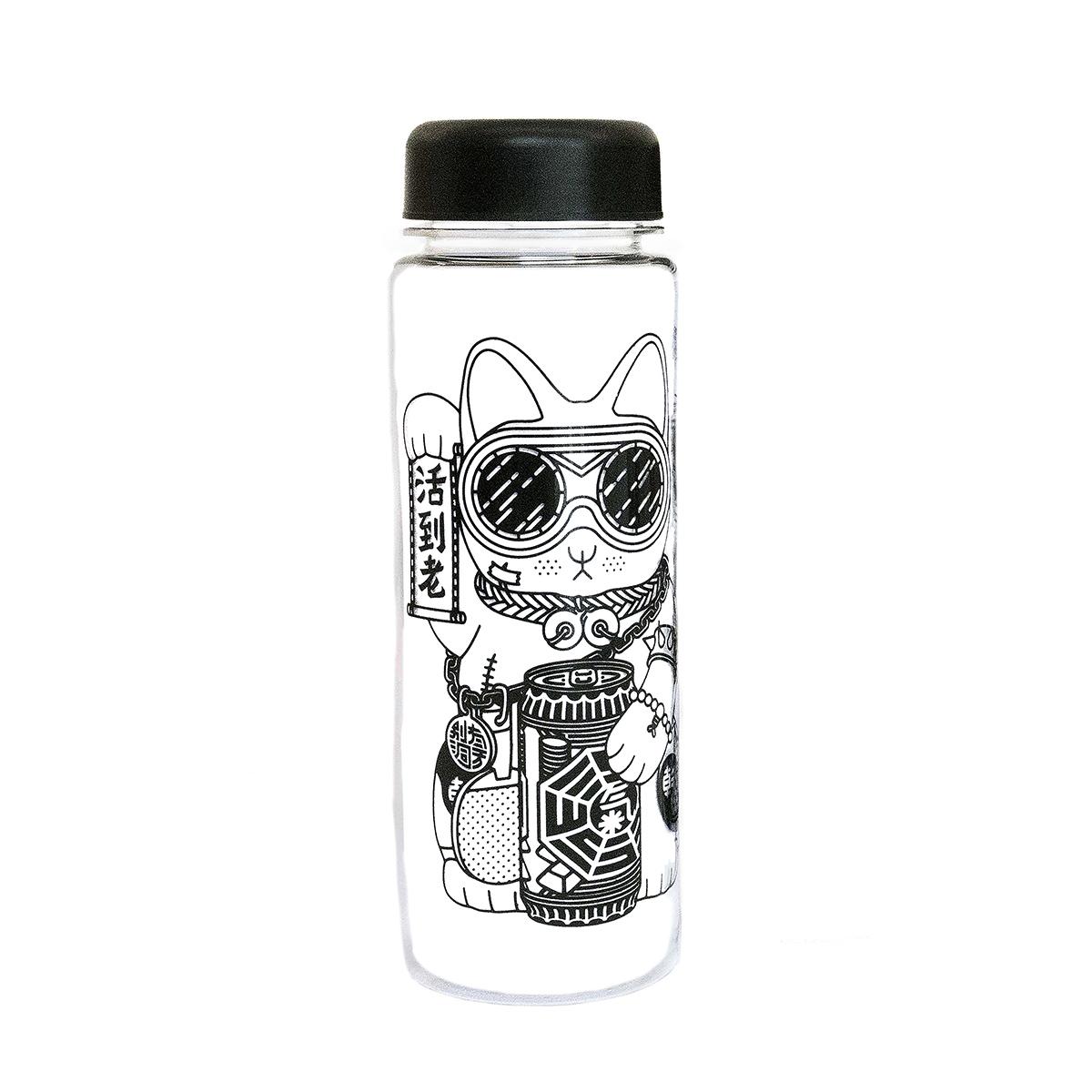 Gangster kitty water bottle (right)