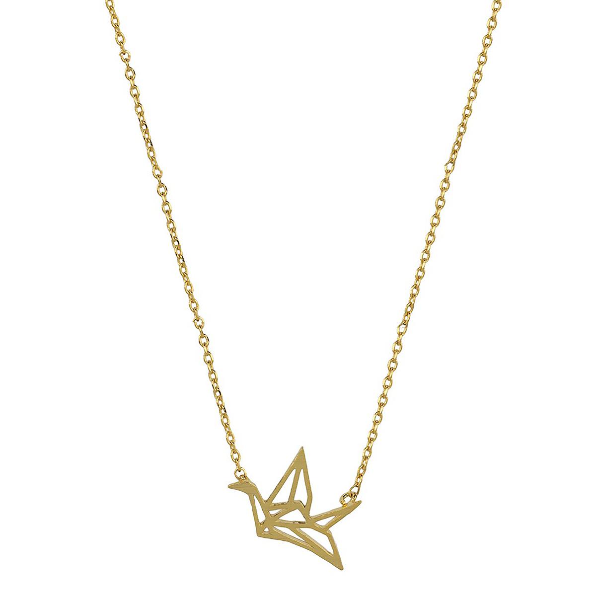Gold bird origami necklace