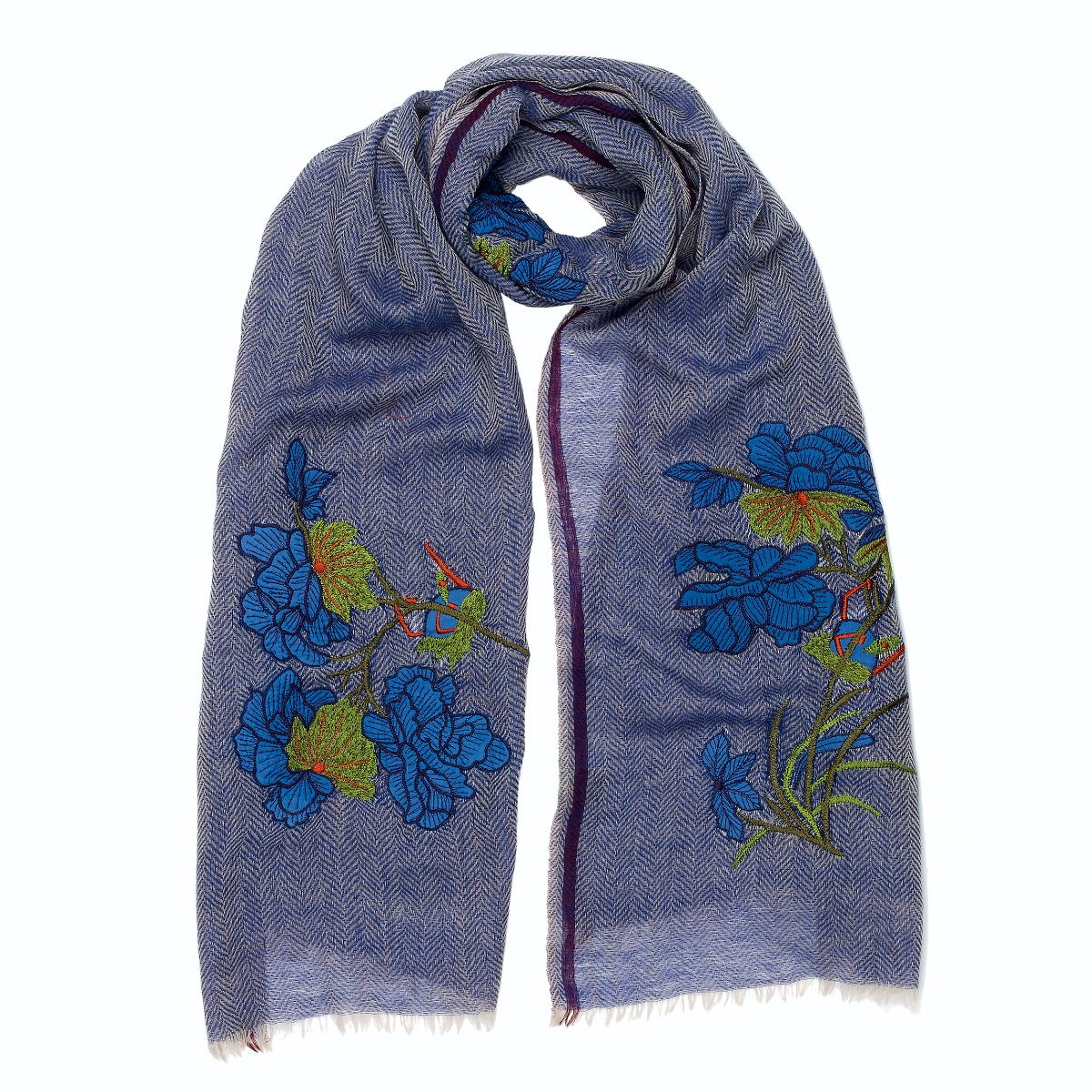 Grey embroidery wool scarf