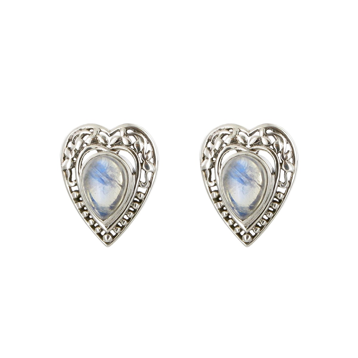 Heart moonstone stud earrings