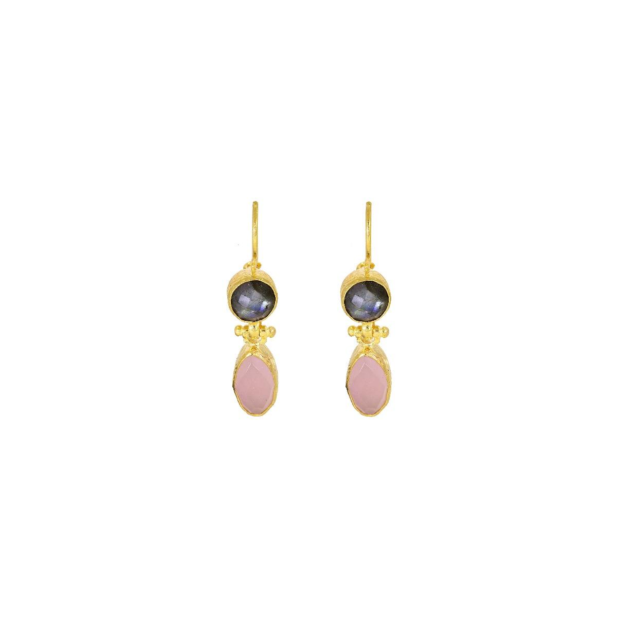 Labradorite and rose quartz drop earrings