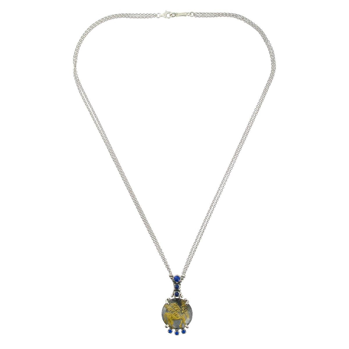 Lamassu lapis lazuli pendant necklace
