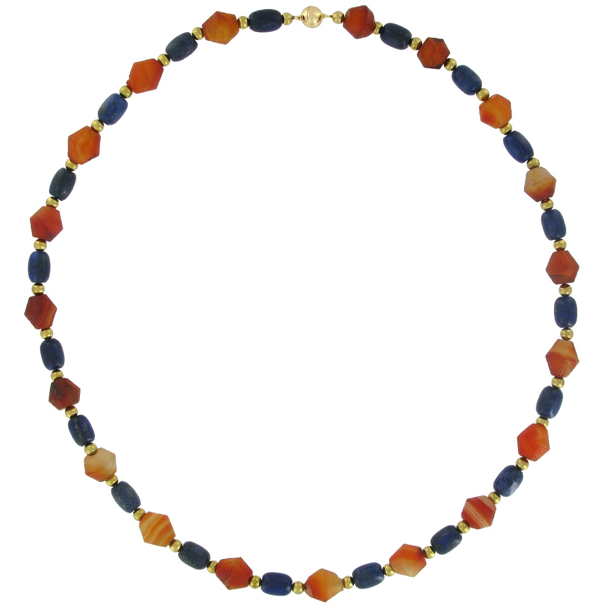 Lapis lazuli and agate necklace  (long)