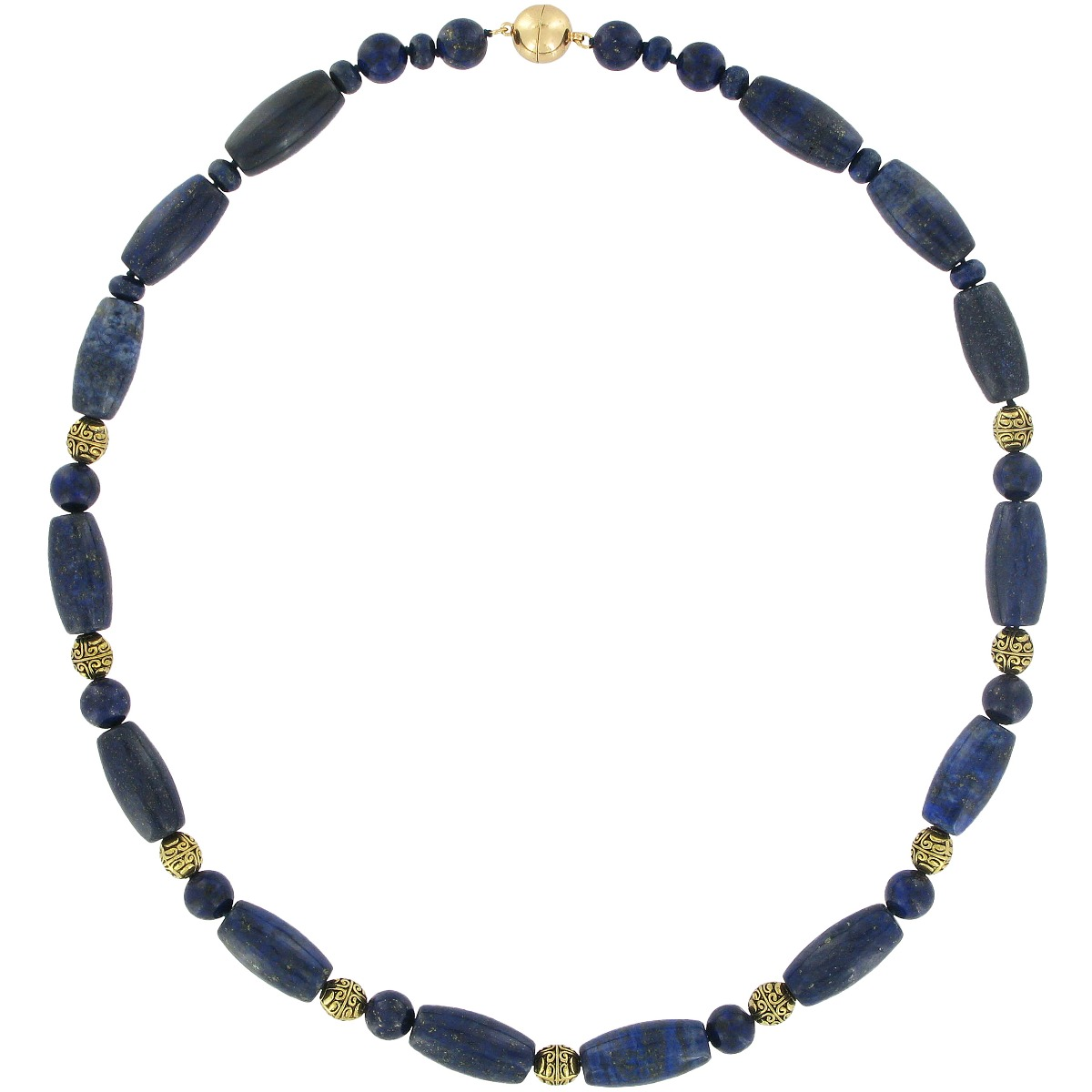 Lapis lazuli and brass beads necklace