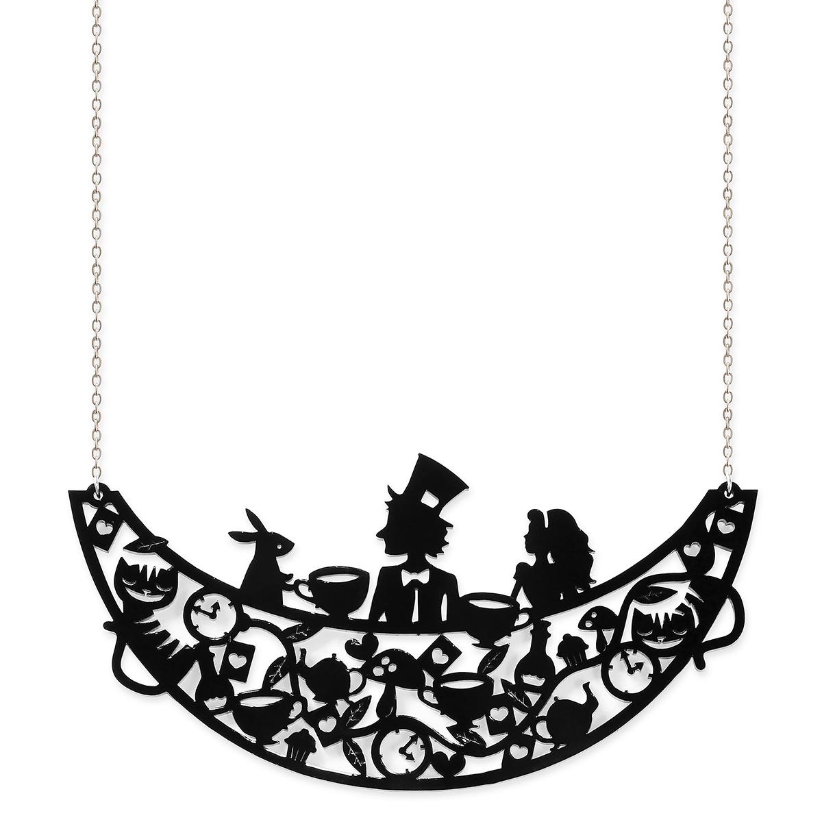Laser cut Alice's tea party necklace