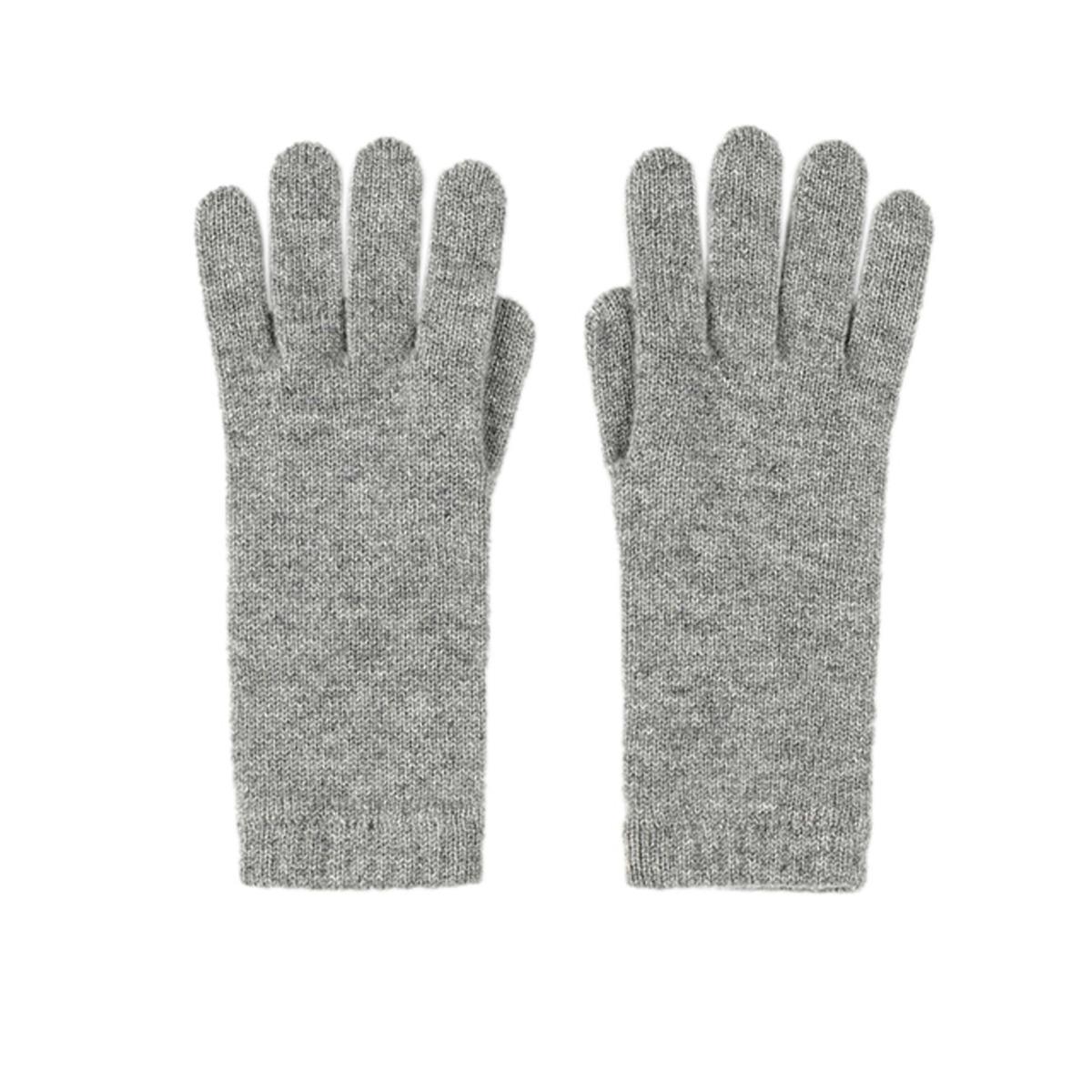 Light grey cashmere women's gloves