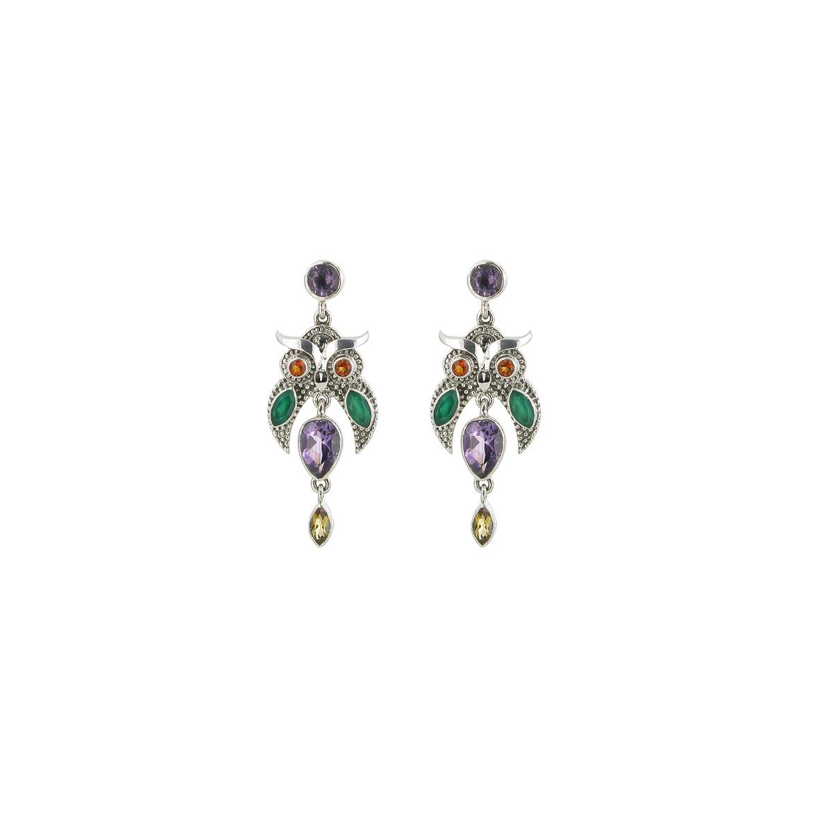 Multi-coloured owl drop earrings