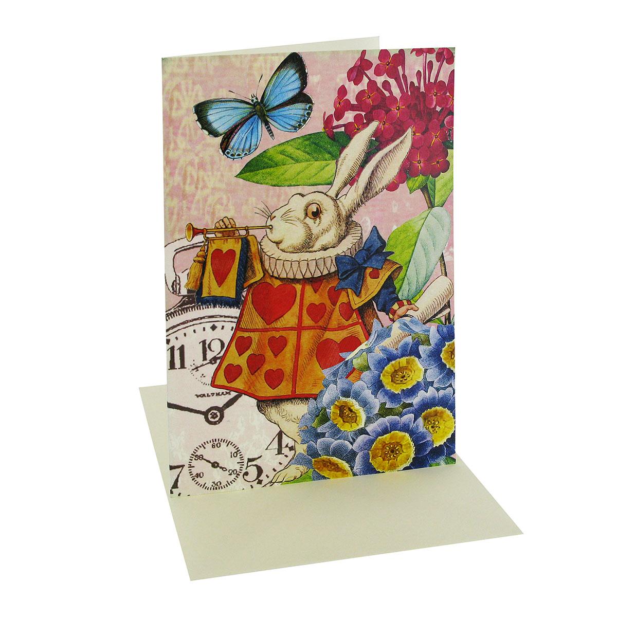 White Rabbit greeting card (colour)