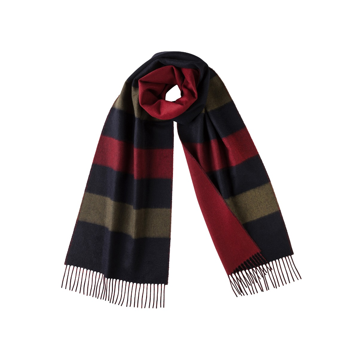 Navy stripe cashmere and merino scarf
