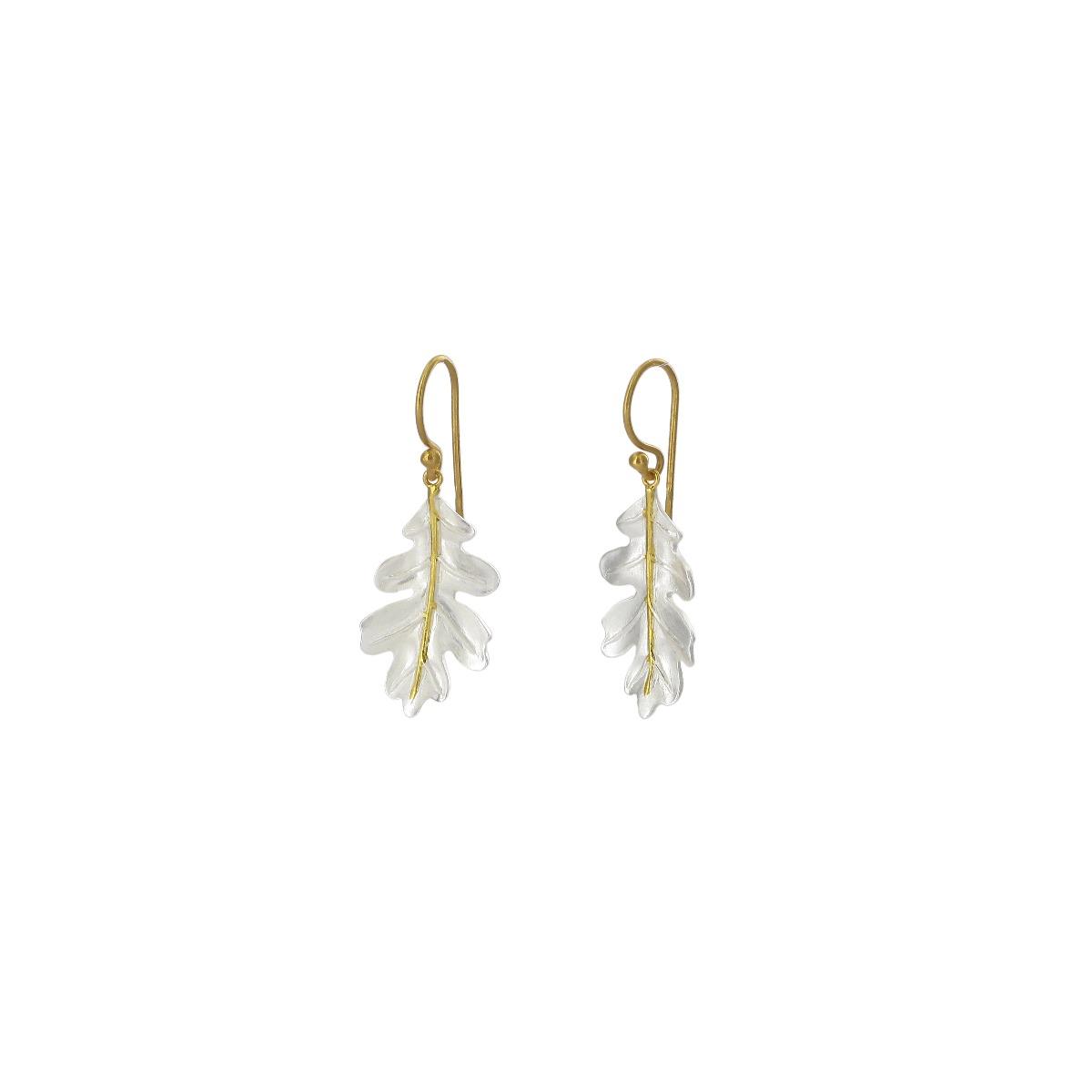 Oak leaf drop earrings