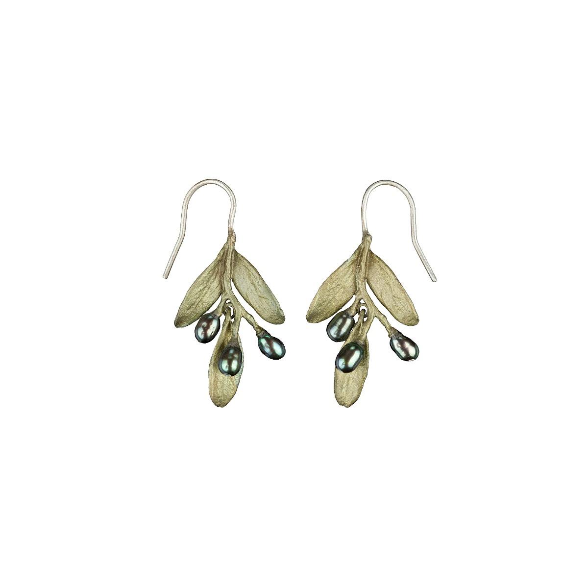Olive pearl drop earrings
