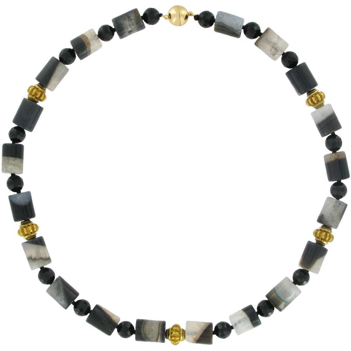 Onyx, agate and brass bead necklace