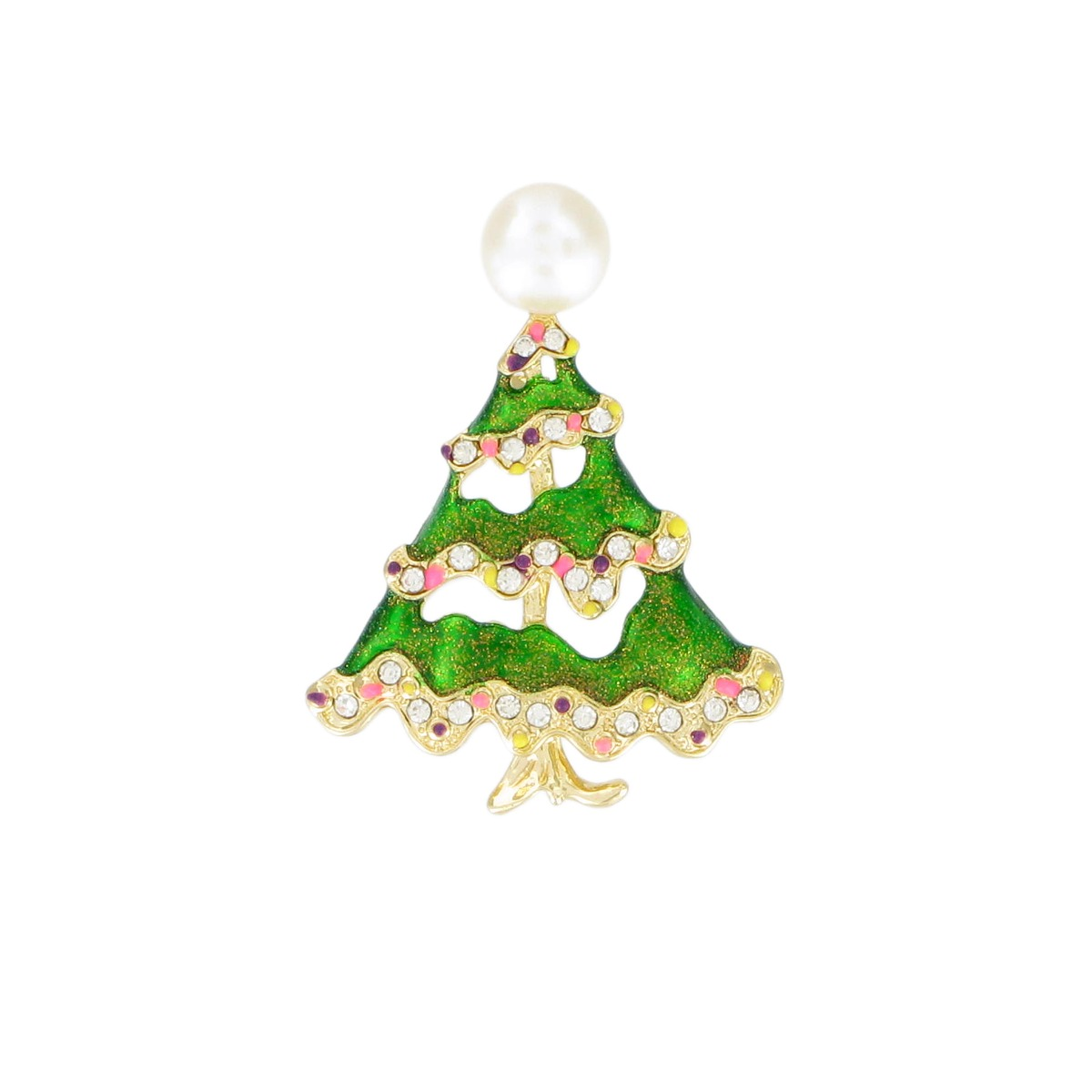 Pearl Christmas tree brooch (green)