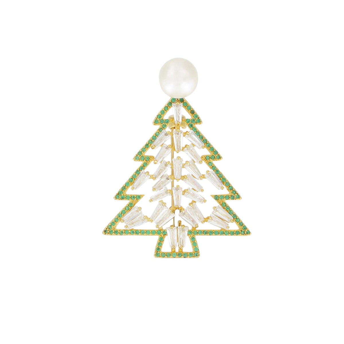 Pearl Christmas tree brooch (white)