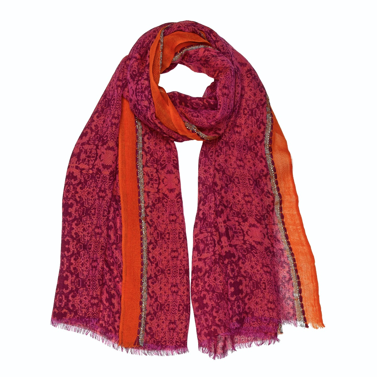 Pink and orange  wool scarf