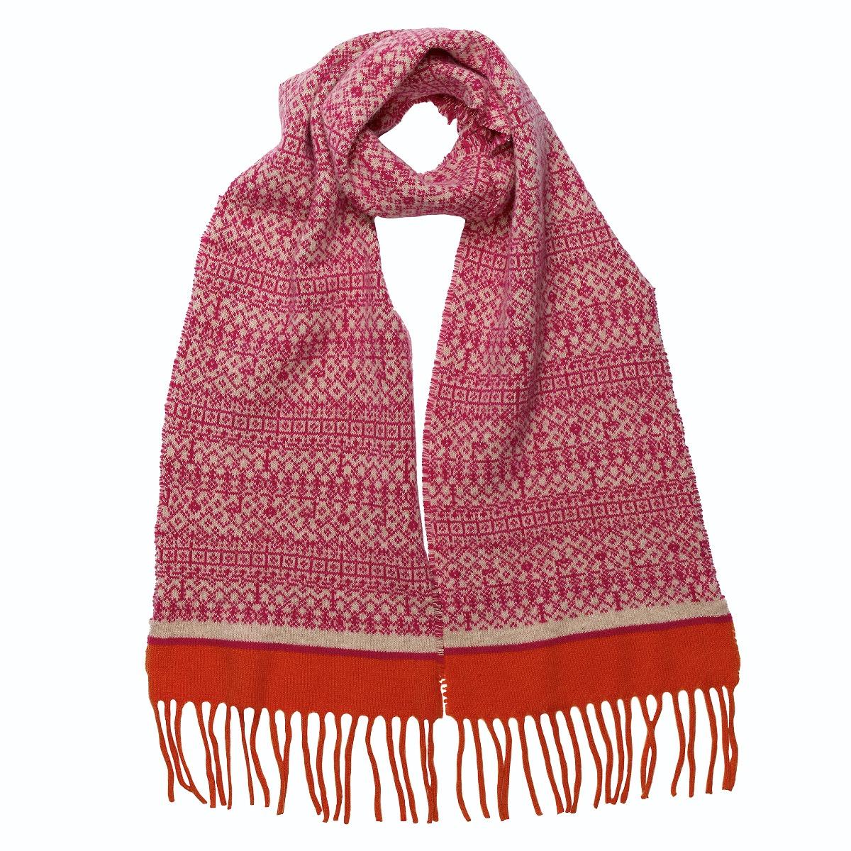 Pink and orange woollen tassel scarf
