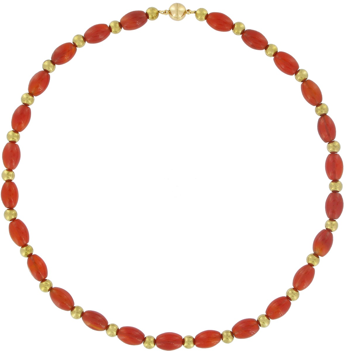 Red agate brass bead necklace