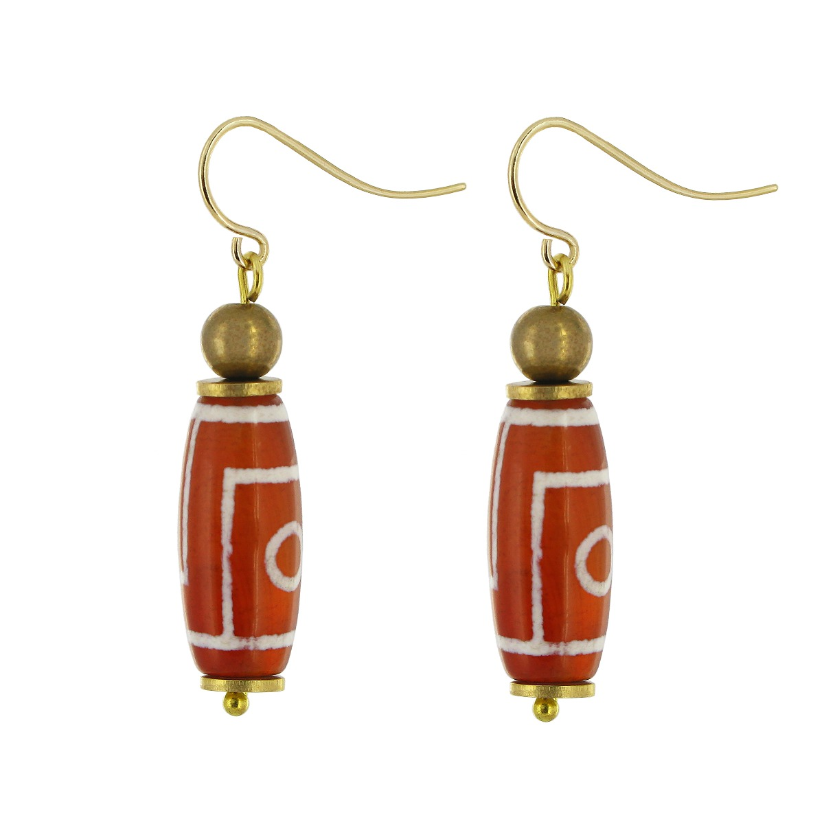 White, red agate and brass drop earrings