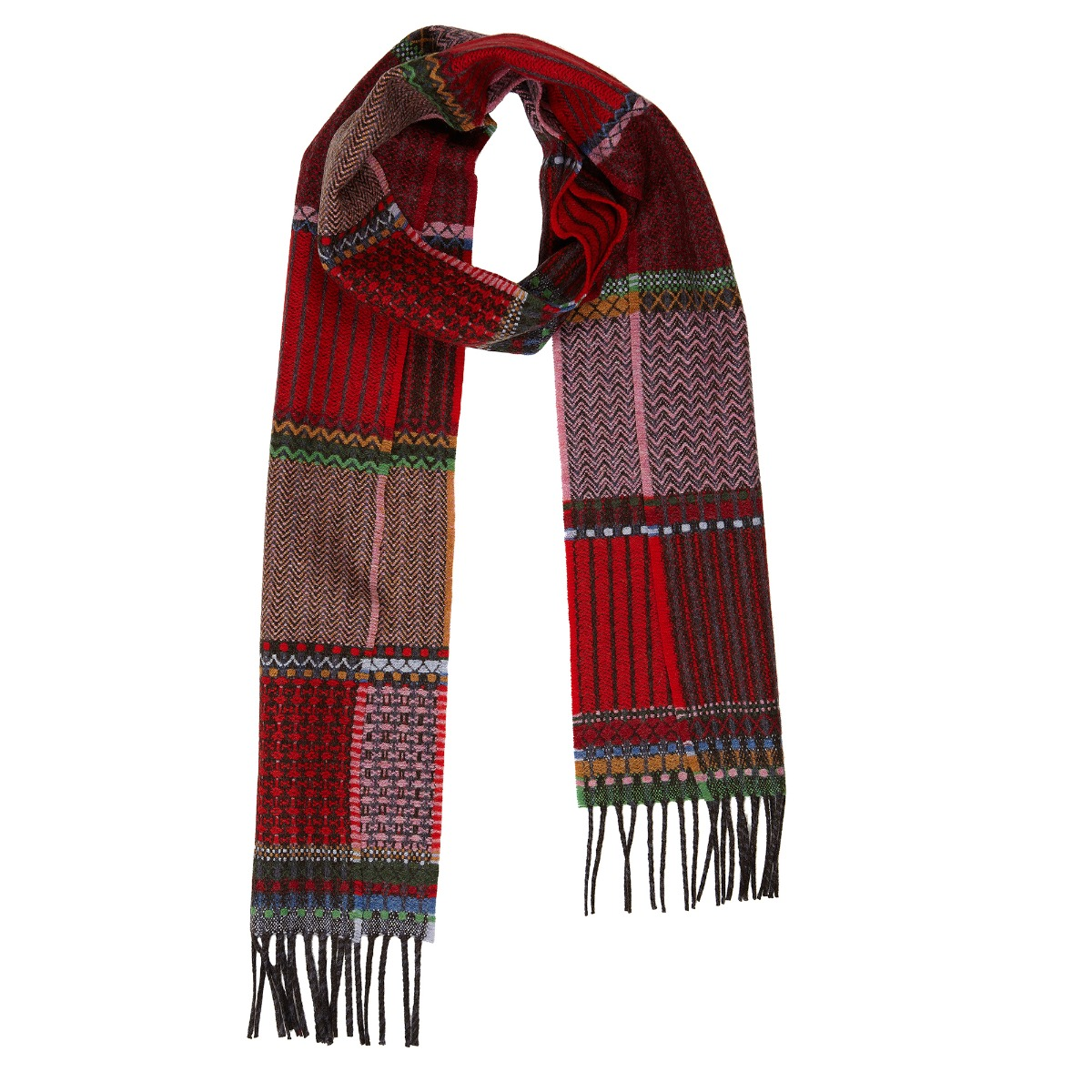 Red duo lambswool scarf