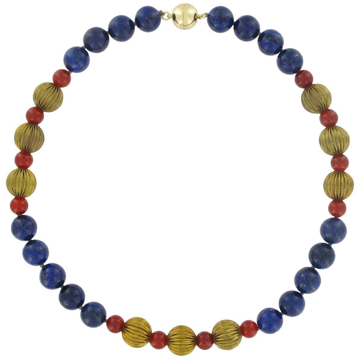 Ribbed lapis lazuli and agate bead necklace