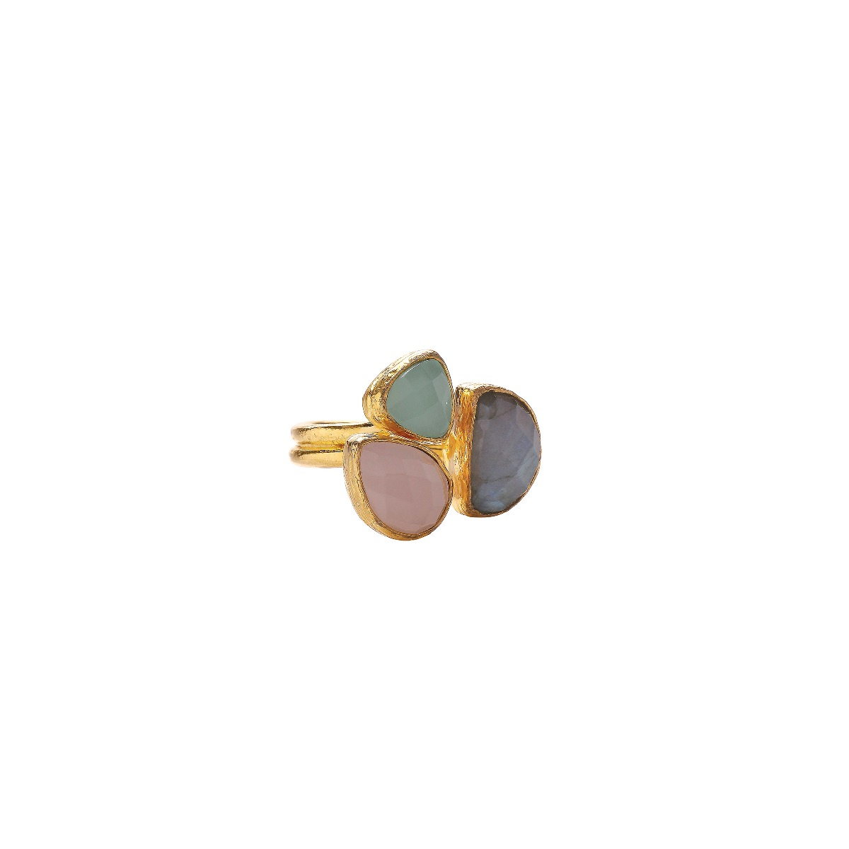 Rose quartz, chalcedony and labradorite ring