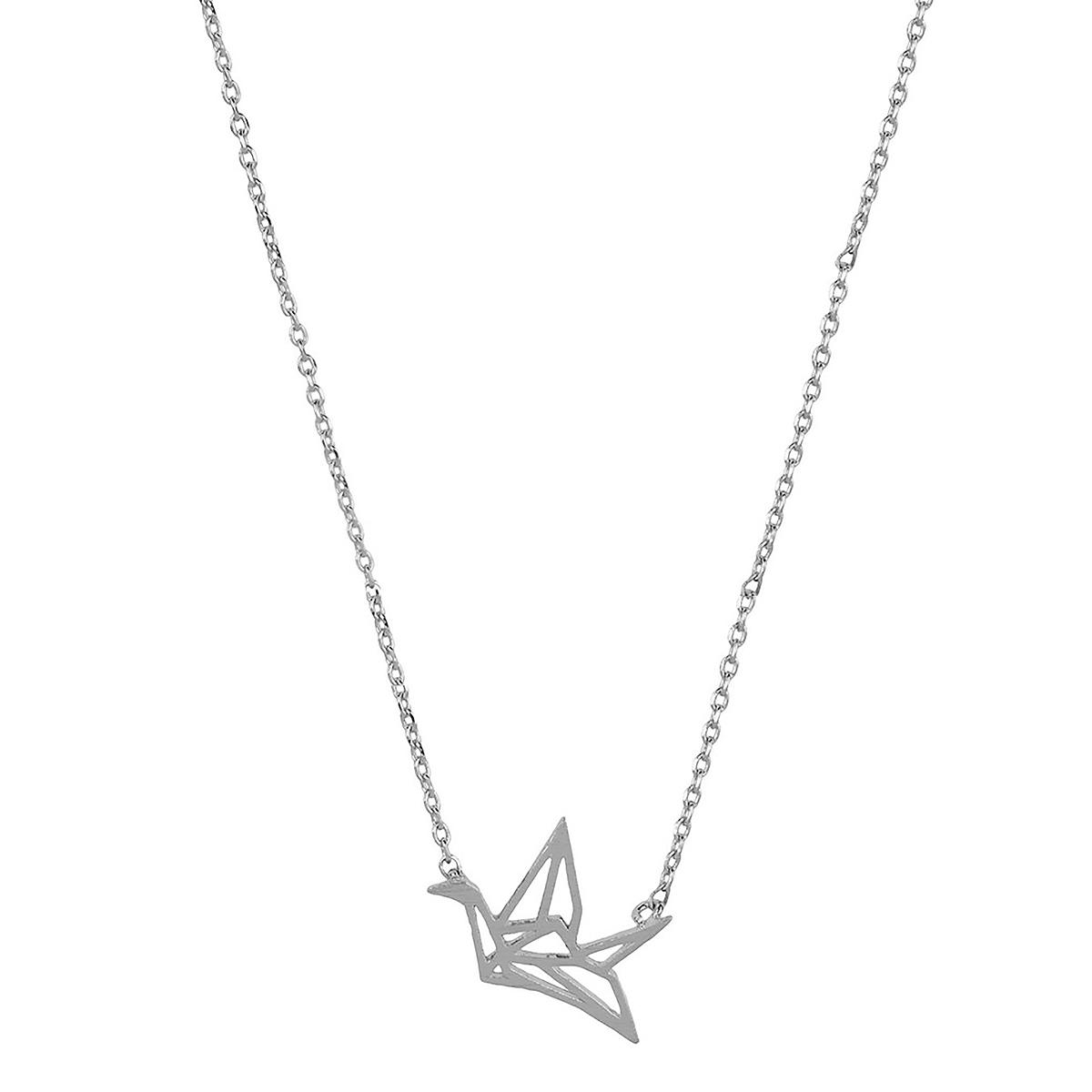 Silver bird origami necklace