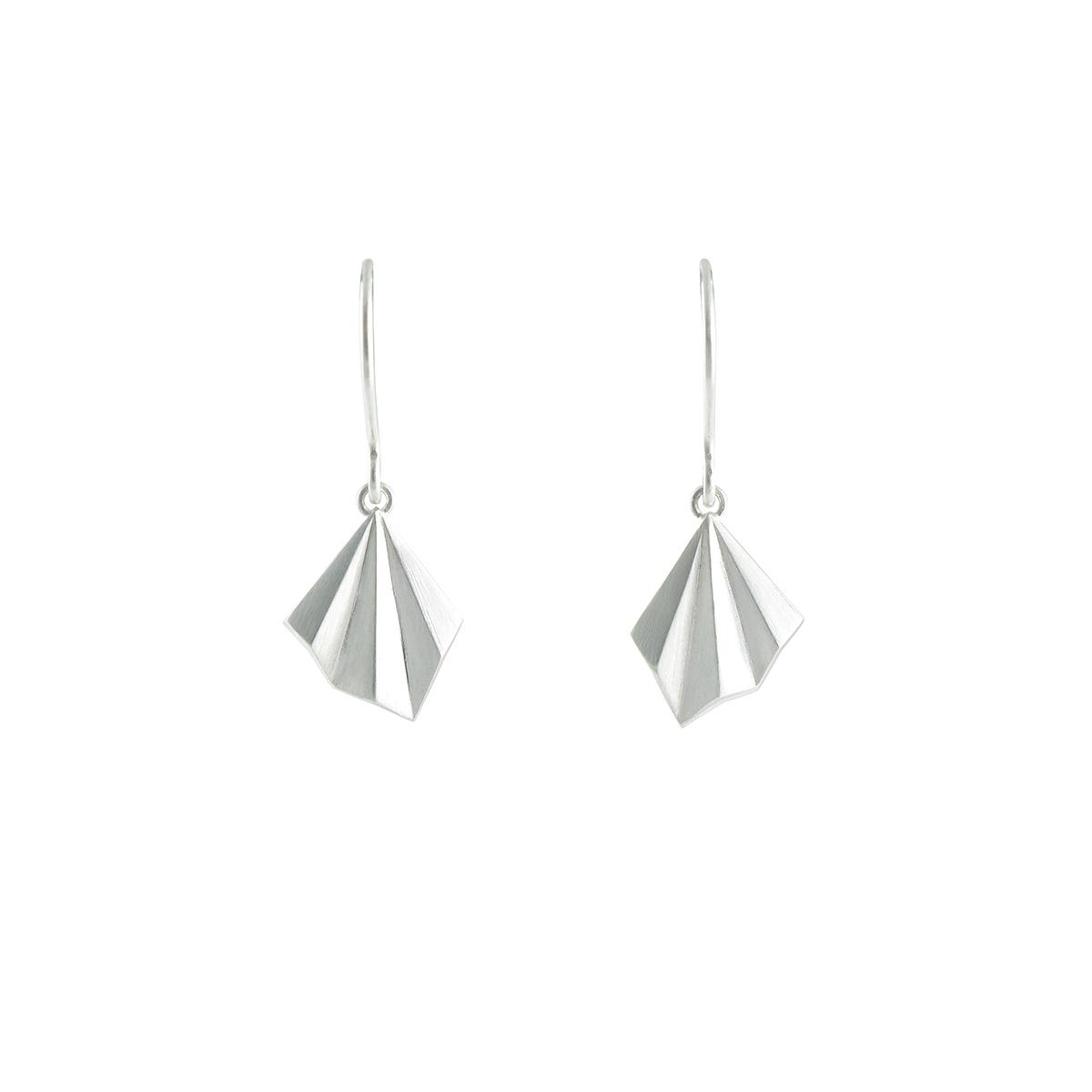 Silver pleated drop earrings