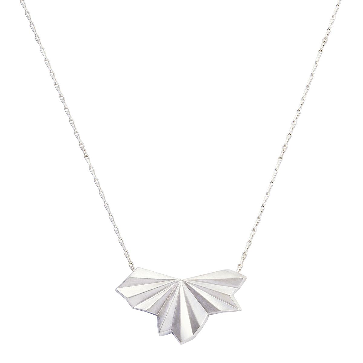 Silver fan necklace