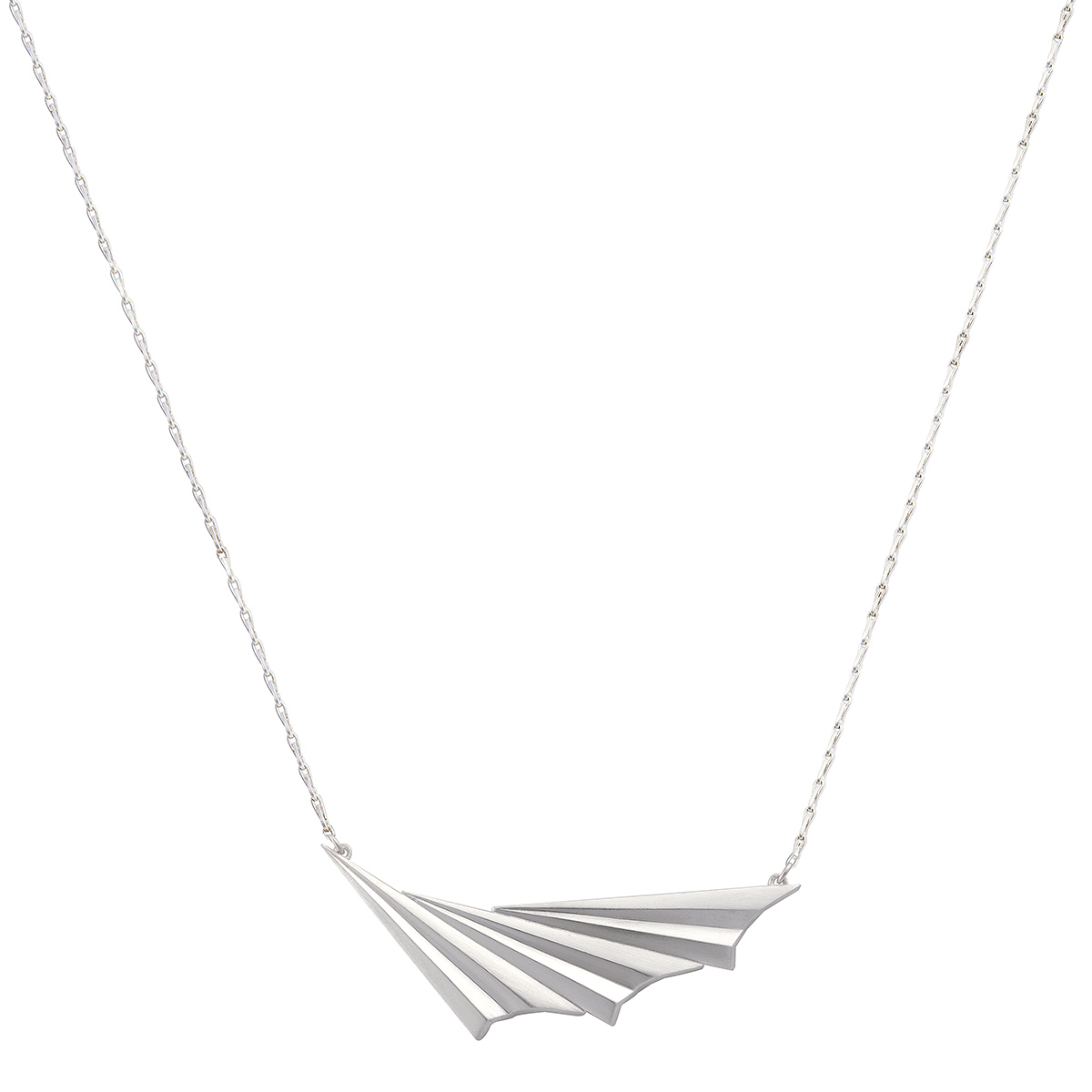 Silver pleated wave necklace